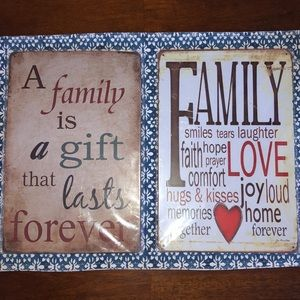 "(2)brand new metal ""Family"" signs still in plastic"